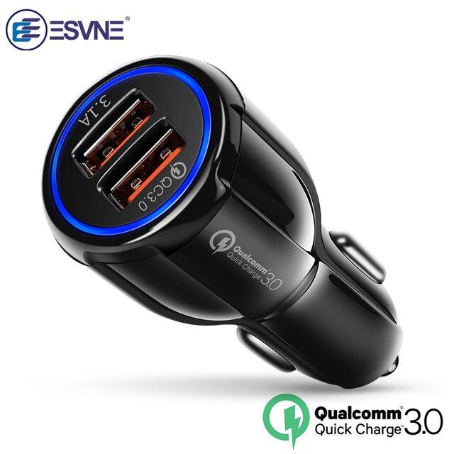 ESVNE Xe Sạc sạc nhanh 3.0 2.0 Điện Thoại Di Động Sạc 2 Cổng Fast Car Charger USB cho iPhone Xiaomi Huawei máy tính bảng Sạc
