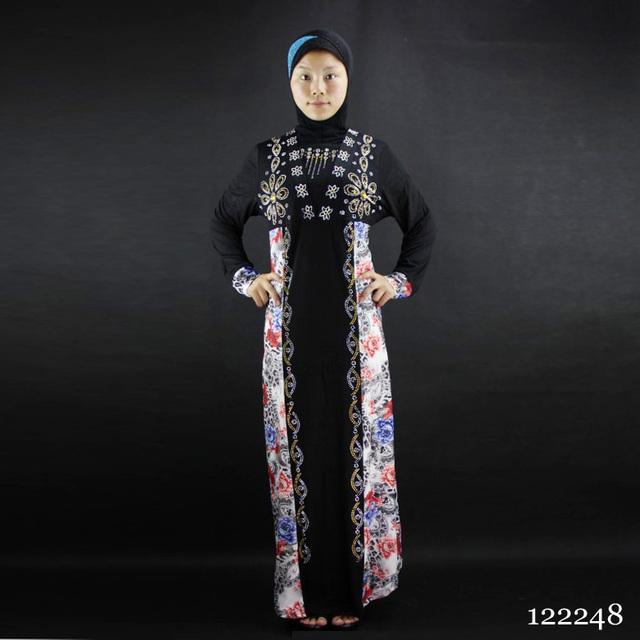 9 colors arab tradition woman abaya Crystal cotton printing hot drilling