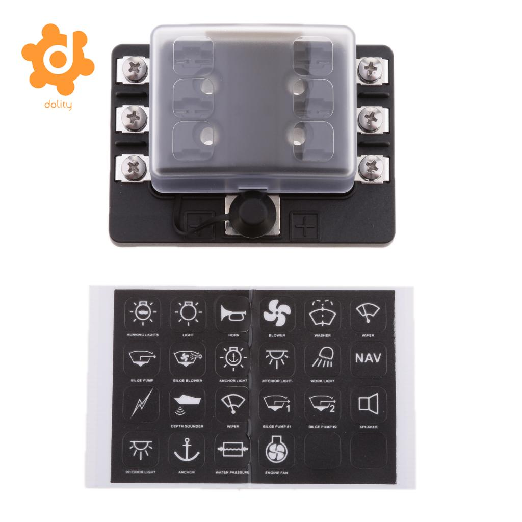Low Price Car Boat Rv 6 Way Mini Micro Blade Fuse Box Block Holder Panel Clear Cover