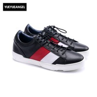 2018 High Quality Hot Sale Lace Up Casual Shoes Men Genuine Leather Male Footwear Match Color Flat Patchwork Plus Size 38 44