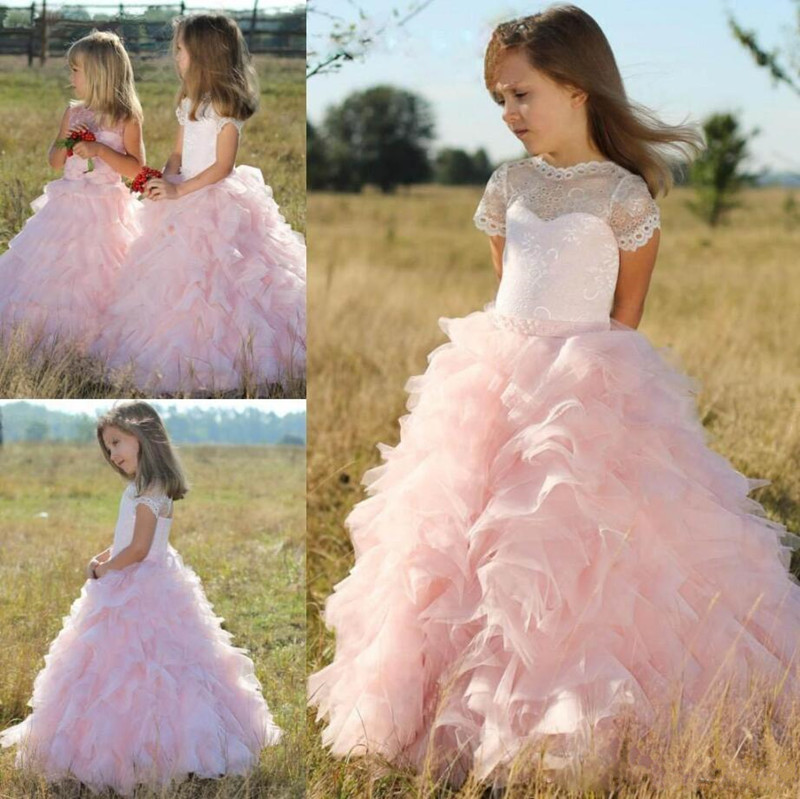 Pink Tiered   Flower     Girl     Dress   For Special Occasion Kids Prom   Dress   Formal Wear Custom Made   Girls   Birthday Party Gowns Vestidos