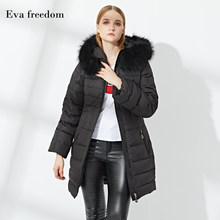 Eva freedom2018 new fashion down jacket women's long section ladies winter raccoon big fur collar hooded jacket(China)