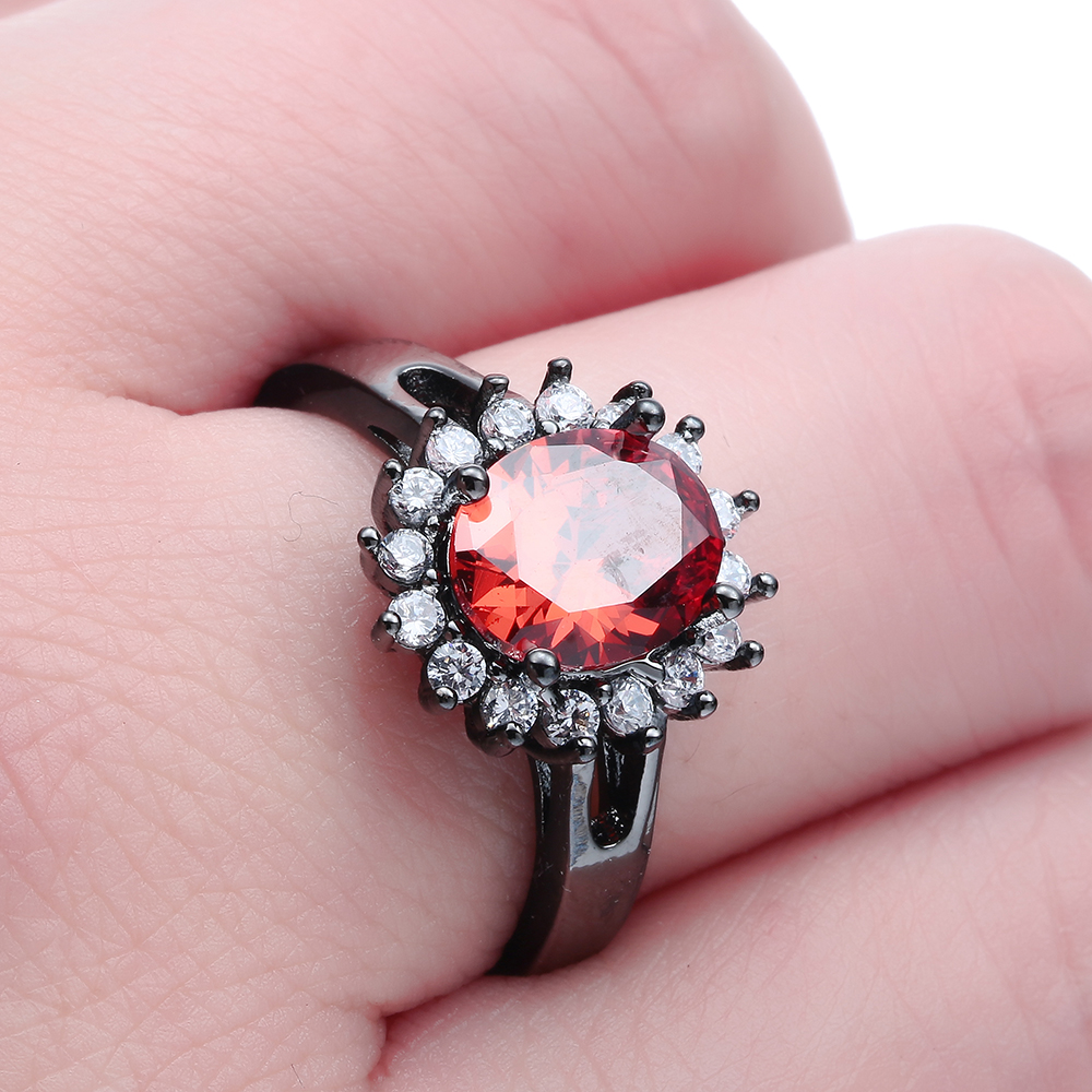 fashion large princess finger Rings silver plated zircon micro paved ...