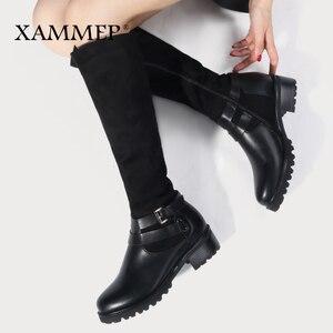 Image 2 - Женские зимние сапоги до колена, кожаные брендовые сапоги больших размеров, женская зимняя обувь из шерсти и плюша