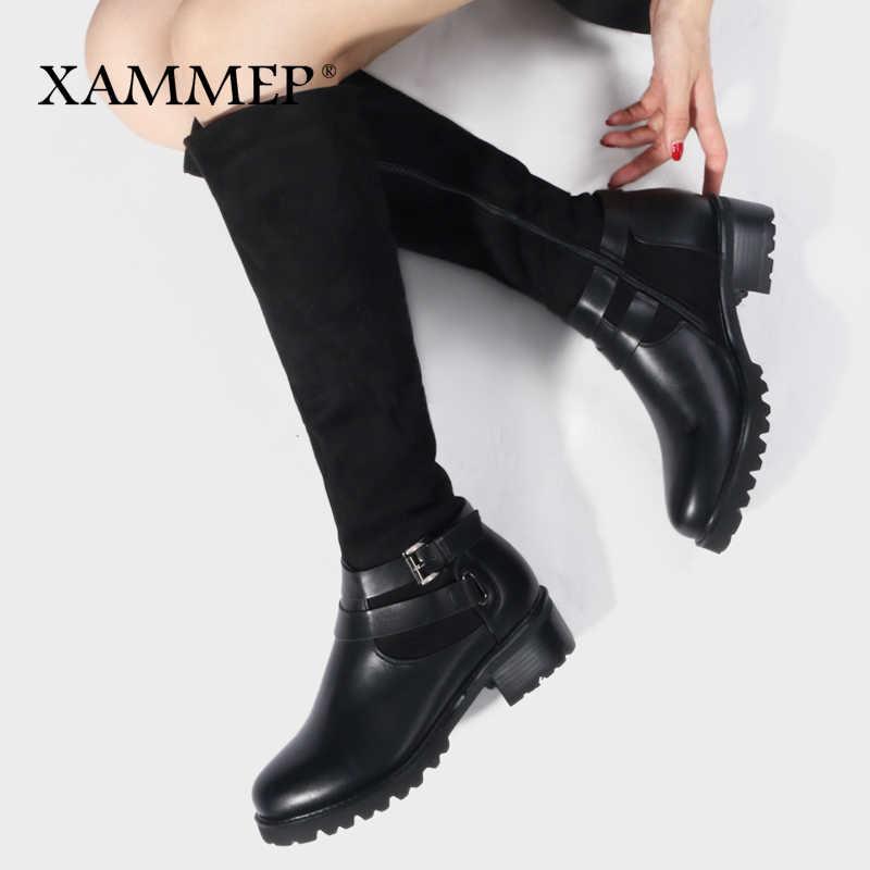 Женская зимняя обувь; сапоги до колена; Брендовая женская обувь из высококачественной кожи; женские зимние сапоги из шерсти и плюша; большие размеры