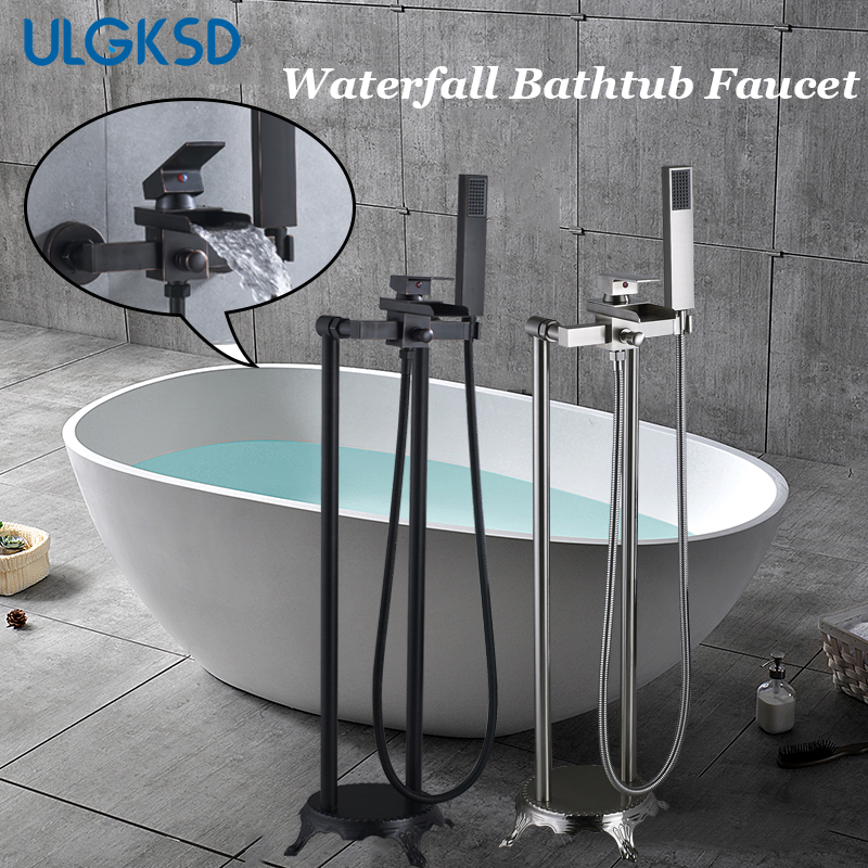 ULGKSD Bathtub Faucet Black/ Nickle Brass Floor Free Stand Hot Cold Water Mixer Tap Single Handle Para Bathroom