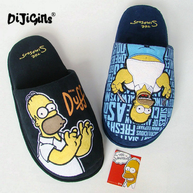 747a03826db27 Winter Men Shoes Homer Simpson Slippers Men s Footwear Cotton Chaussons  Simpson Home Slipper Zapatillas Casa