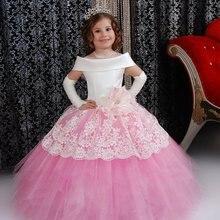 Новинка года; ярко-Розовое Бальное платье с рукавами-крылышками; белое кружевное платье с цветочным узором для девочек длинное платье для девочек; праздничное платье для первого причастия