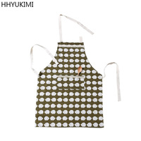HHYUKIMI Adult Women Girls Cotton Linen Cloth Kitchen Cooking Apron Pockets Adult Uniforms Restaurant Home Personality