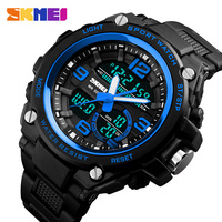 SKMEI Men Sports Watches Men Dual Display Quartz Analog LED Digital Wristwatches 50m Waterproof Clock Man