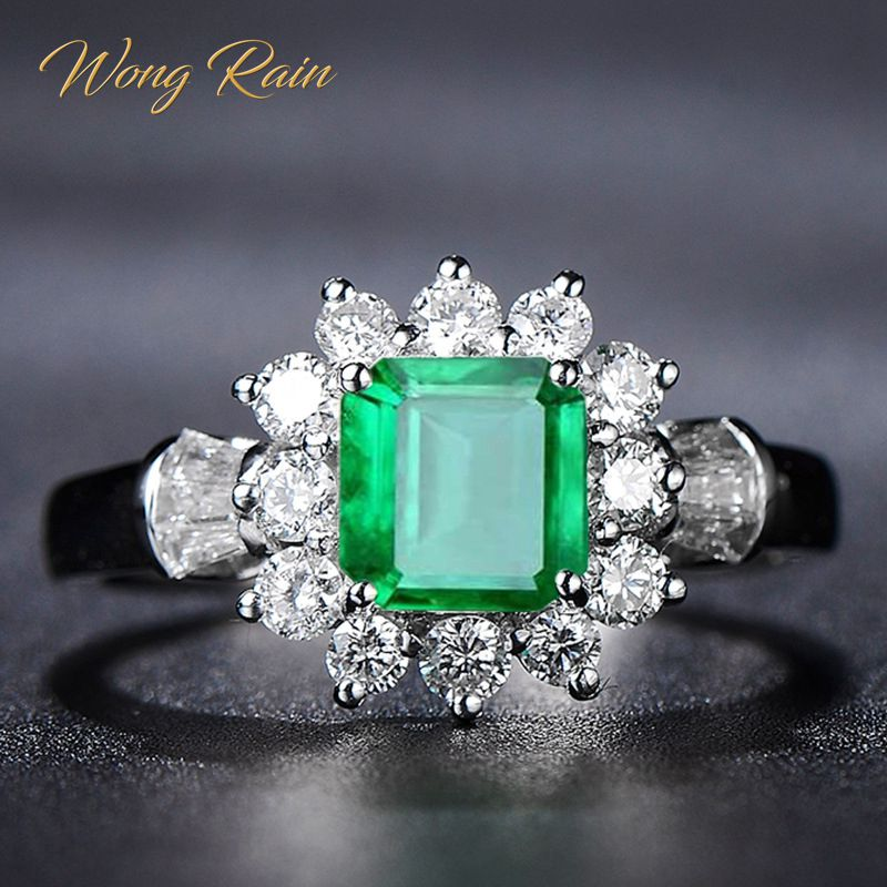 Wong Rain Vintage 100% 925 Sterling Silver Emerald Gemstone Wedding Engagement Diamonds White Gold Ring Fine Jewelry Wholesale