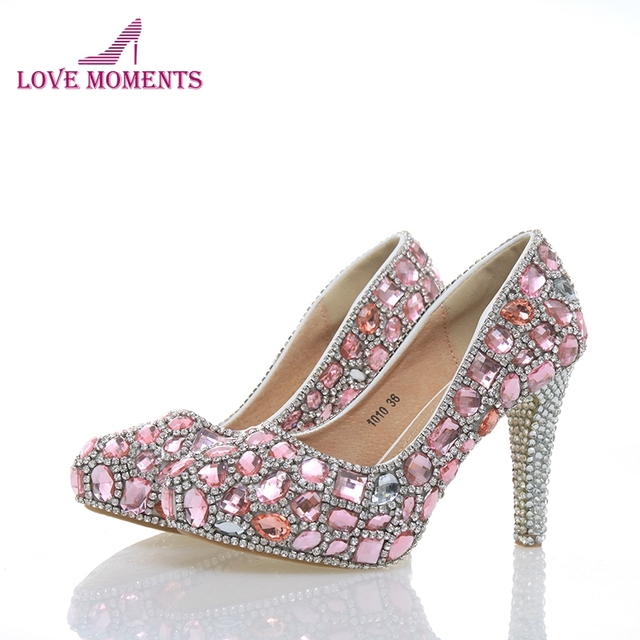 Beautiful Pink Crystal Bridal Shoes Gorgeous Rhinestone High Heels Handmade  Luxury Lady Evening Prom Girl Birthday Party Shoes ab1aa7d0fac4