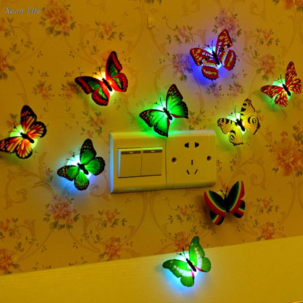 6.7X5.7X1.6cm Can Paste LED Creative Colorful Small Fancy Lantern Butterfly Wall Sticker For Living Kids Rooms Wholesale