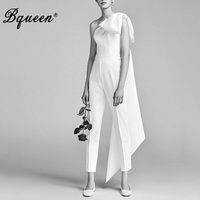 Bqueen Elegant Bow Solid White Full Length Women Jumpsuits Sexy One Shoulder Slash Neck Backless Bodycon Women Bodysuits 2019