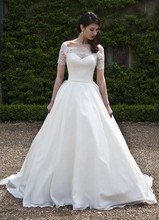 Free Shipping Ball Gown Off Shoulder Sweep Train Bohemian Style Wedding Dress With Short Sleeves AW393