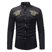 936908266cc Fashion Print Floral Shirt Men Wedding Party Streetwear Top Novelty  Embroidery Casual Blusa Shirts Male Long