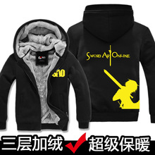 Caliente Negro Grueso Fleece Hoodies Espadas SAO Cosplay Chaqueta de Invierno Hombres Mujeres Tops Sudadera Harajuku Cremallera Chaquetas