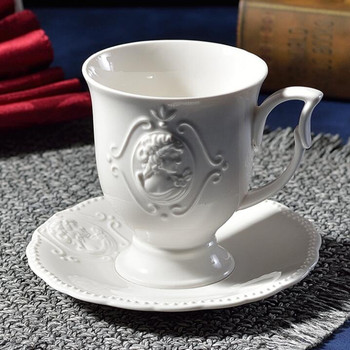 Viennese coffee cup and saucer set Literary ceramic coffee cup and saucer Embossed coffee cup Nordic 350ml cup and saucer фото