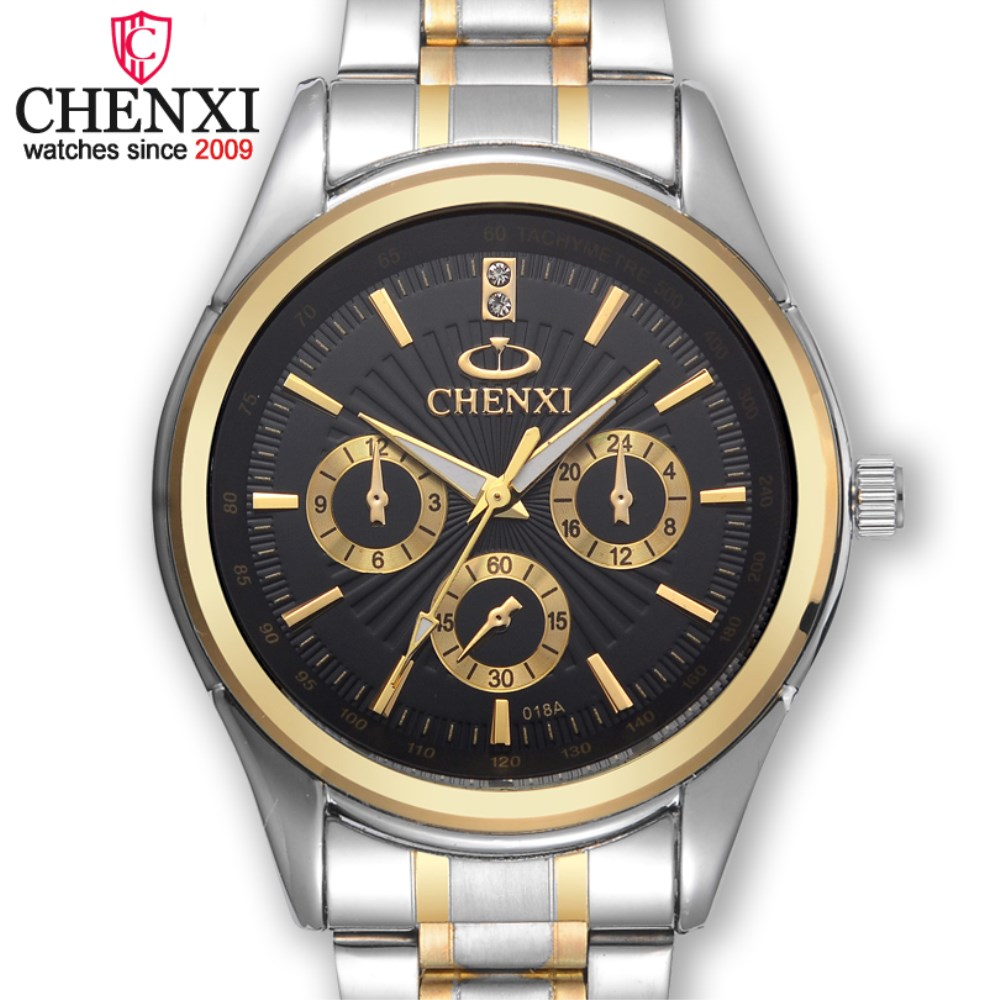 CHENXI Gold Quartz Watch Men Top Brand Luxury Wristwatch Famous Fashion Steel Strap Hand Watches Business Male Gift Clock NATATE natate new popular men fashion quartz watch leisure business luxury chenxi brand stainless sports wristwatch 1240