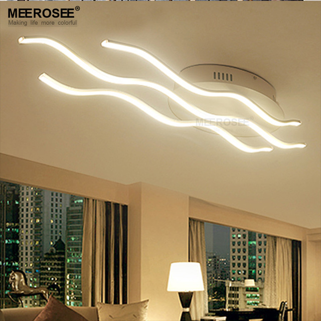 Wave LED Ceiling Light Fixture Long Acrylic White LED Lampadario Lighting  For Living Room Bedroom Modern