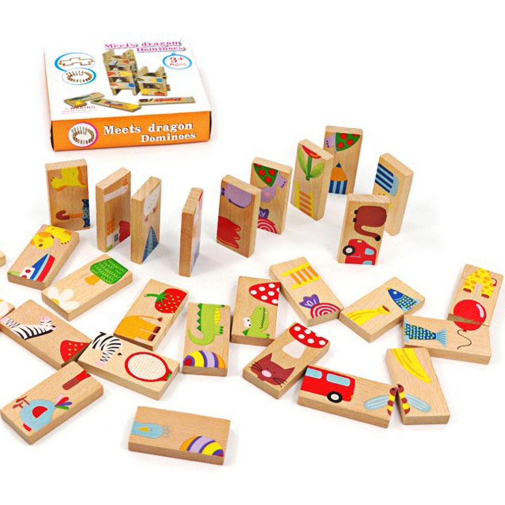 28Pcs/Set Multi-Function Animal Dominoes Block Fun Educational Fruite Animal Pattern Learning Building Blocks Toys K5BO
