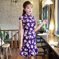 2017 Spring New Lace Dress Chinese Style Retro Improvement Girl Cheongsam Slim Was Thin 2 Colors