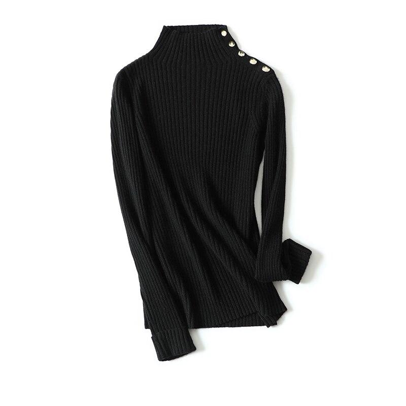 Calidad De Y Las Cachemira Alta Suéter 2019 Alto Moda Mujeres Cuello Aautumn Slim Black ivroy 100 Suéteres qRBFwR5nS
