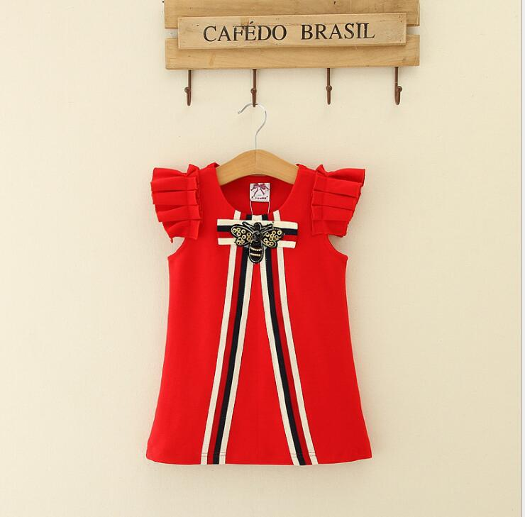 2018 Elegant Striped Puff Sleeve Dresses For Girls Princess, Children Cotton Cute Dress  5 pcs/lot, Wholesale
