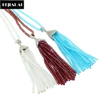 New Design Handmade Tassel Pendant Necklace Silver Color Charm Paved With Crystal Rhinestone Glass Crystal Beads