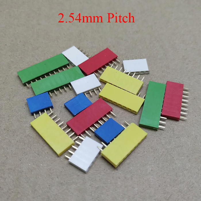 1*6 1x6 Pin 6P 2.54mm Pitch Red Black Yellow Green Blue White Female Connector Socket Single Row Straight Pin Header Strip