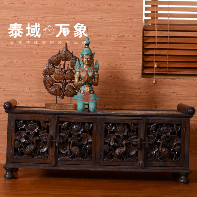 Iron wood tv cabinet rattan furniture in southeast asia thailand