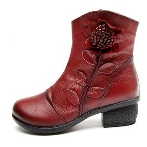 Image 4 - GKTINOO Botas Retro de piel auténtica para Mujer, zapatos Botines hechos a mano, para otoño e invierno, 2019