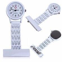 Best Brand Vintage Silver Stainless Steel Nurses Pocket Quartz Fob Watch White