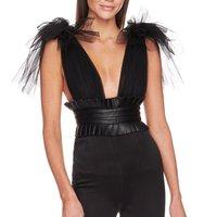 2 Colors Sexy Jumpsuits Women Elegant Celebrity Evening Fashion Party Suits Lace up Black White Mesh Jumpsuit