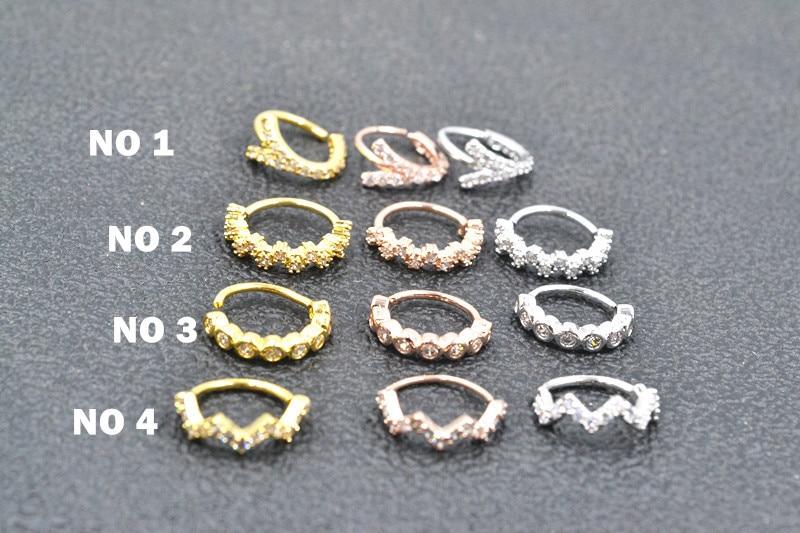 50 sztuk ciało biżuteria Piercing nos/kolczyk ucho Helix Daith chrząstka kolczyk pierścień przegrody nosowej zginać CZ gens świecić nowym w Biżuteria do ciała od Biżuteria i akcesoria na  Grupa 1