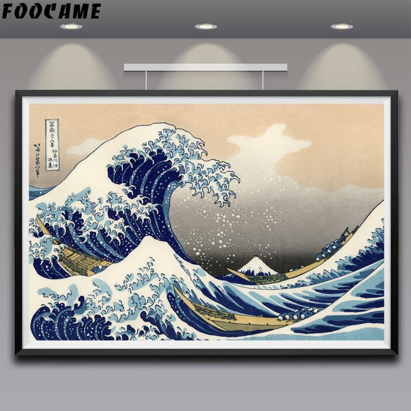 FOOCAME Katsushika Hokusai Great Wave Off Kanagawa Silk Posters Art Prints Painting Decorative Pictures Living Room Decoration