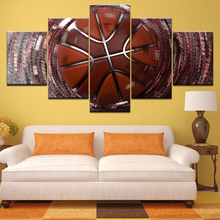 Wall Art Canvas Painting Frame 5 Pieces abstract basketball  Pictures HD Prints sports Sporting goods Poster Gym room Home Decor