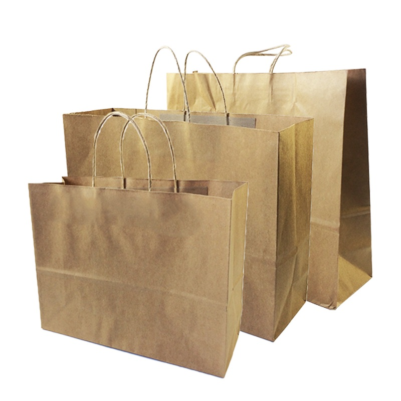 Image 3 - 10 Pcs/lot Big Kraft Paper Bag With Handles Recyclable Bag for Fashionable Clothes Shoes Gift Shops 8 Size Cowhide Color-in Gift Bags & Wrapping Supplies from Home & Garden