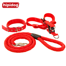 Hipidog Dog Adjustable Heavy Duty Nylon Woven Collar Harness Leash Set for Training Walking Running for Large Medium Dogs Pets