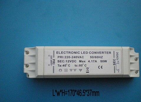 Hottest!!! 1pcs CE Rohs MR16/MR11/G4 LED Light Electronic driver 50w Power 12v Output Size 170*46.5*37MM 170g/pcs in white box