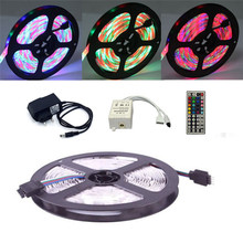 ECLH RGB LED Strip Light 2835 SMD 5M 300LEDs Flexible Tape IR Remote Controller 12V 2A Power Adapter Ribbon