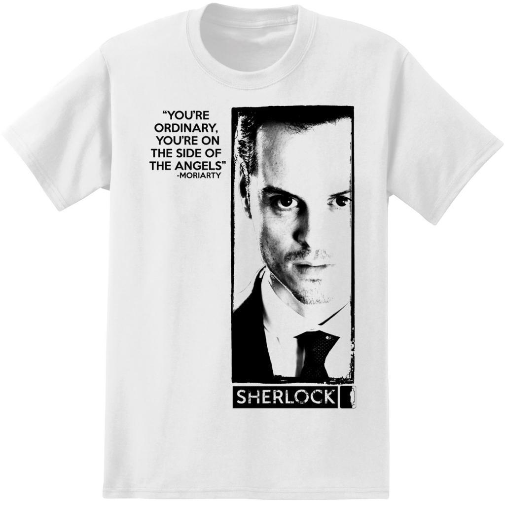 Adult White Detective TV Show Sherlock Holmes Moriarty Quote T-Shirt Tee image