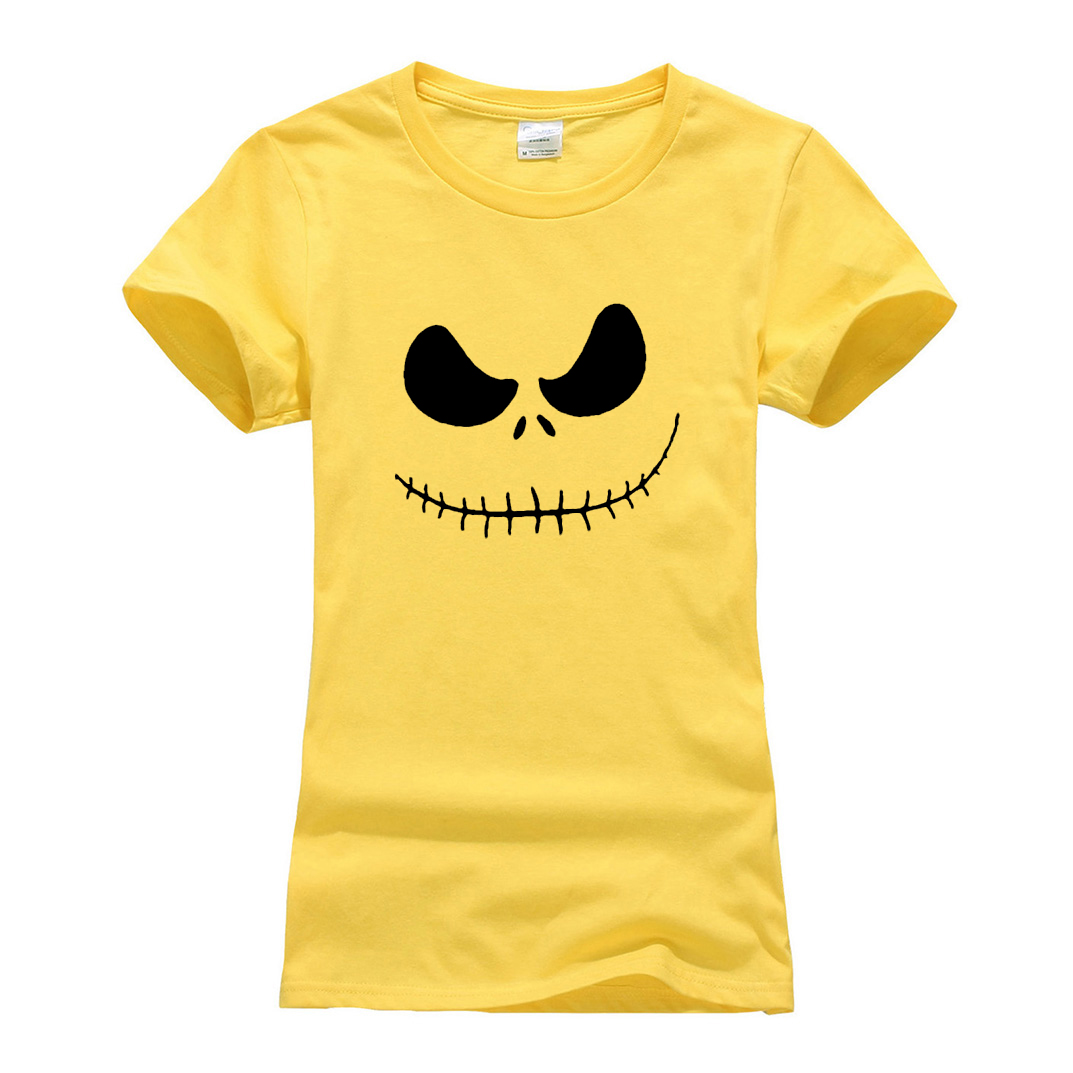 Jack Skellington Evil Smile Print Women T-shirt 2019 camiseta tee Shirt Femme hipster brand clothes fashion harajuku hip-hop top