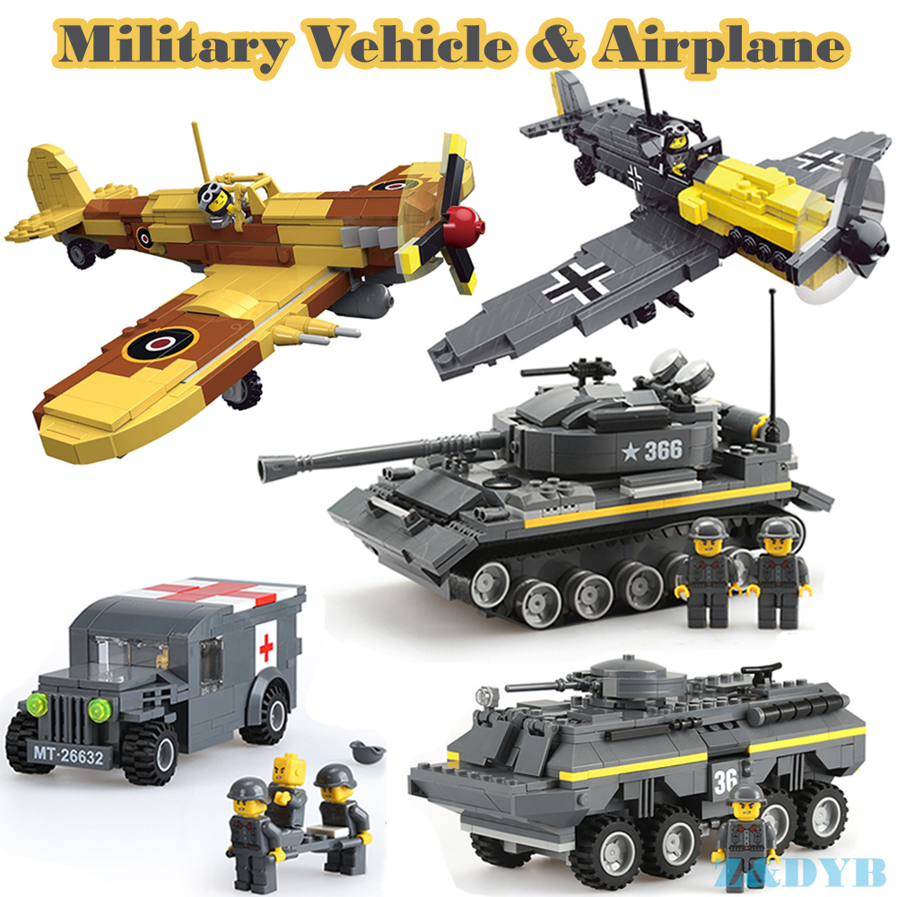 Military Vehicles Sets Tank Panzer Jeep Truck Airplane WW2 Soldiers Weapons Army Legoed Model Building Blocks Brick Children Toy