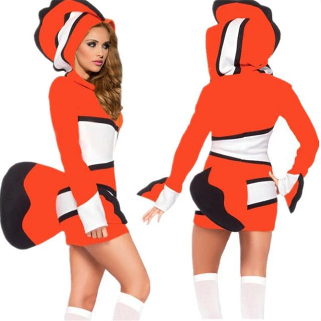 Adult Mermaid Dress Halloween Sexy Clownfish Cosplay Costume marine theme Party  Dress Night club DS Costumes Masquerade Uniform 46de3dc14edd