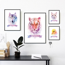 Canvas Painting Dog Wolf Tiger Animals Watercolor Wall Art Print Posters Modern Cartoon For Kids Room Home Decoration Background