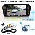 Kit inalámbrico Aparcamiento Automático 7 ''Pantalla TFT LCD Monitor del Espejo de Bluetooth MP5 FM con Mini CCD Retrovisor de la cámara Back up Cam Inversa