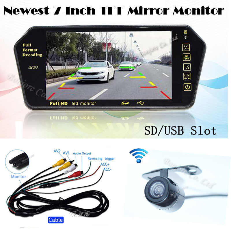 Wireless kit Auto Parking 7'' Display TFT LCD Monitor Mirror Bluetooth MP5 FM with Mini CCD Rearview Reverse camera Back up Cam auto backup rear licence plate rearview camera with 7 inch bluetooth mp5 tft display monitor mirror usd fm slot free shipping