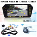 Wireless kit Auto Parking 7'' Display TFT LCD Monitor Mirror Bluetooth MP5 FM with Mini CCD Rearview Reverse camera Back up Cam