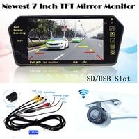 Wireless Kit Auto Parking 7 Display TFT LCD Monitor Mirror Bluetooth MP5 FM With Mini CCD